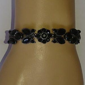 Black & Gunmetal Gray Floral Bracelet